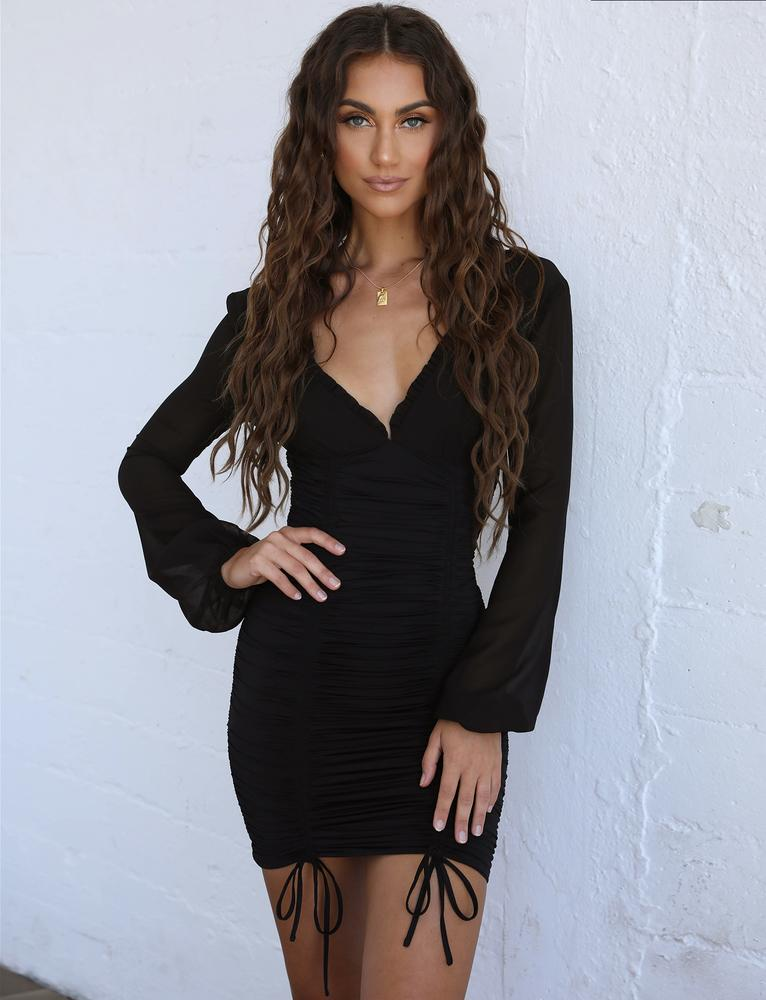 black plunge long sleeve dress