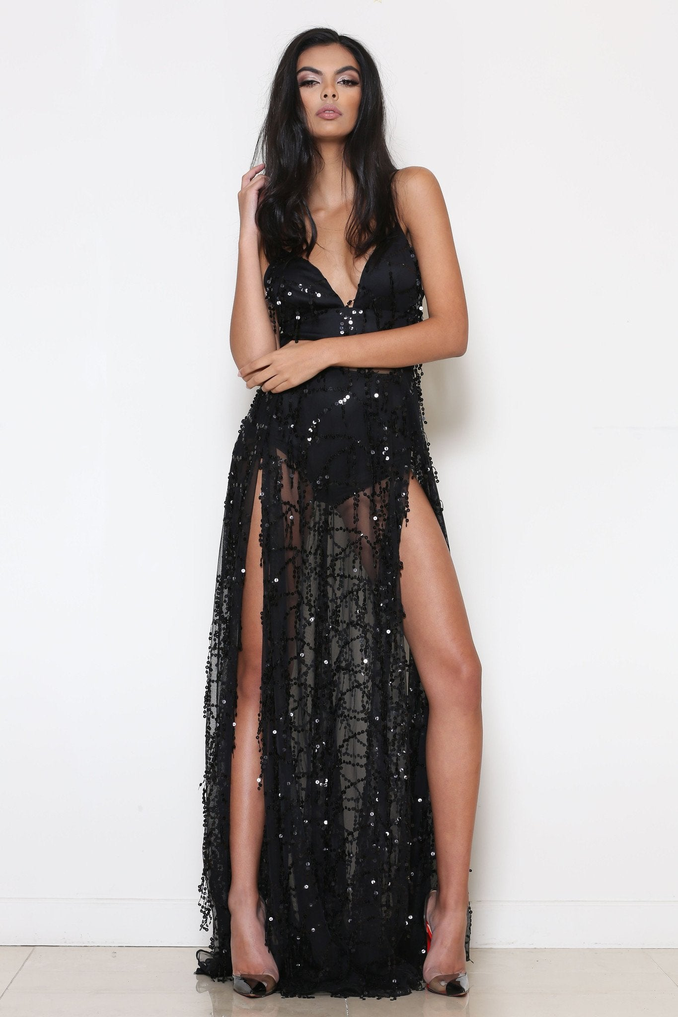 black sequin maxi dress