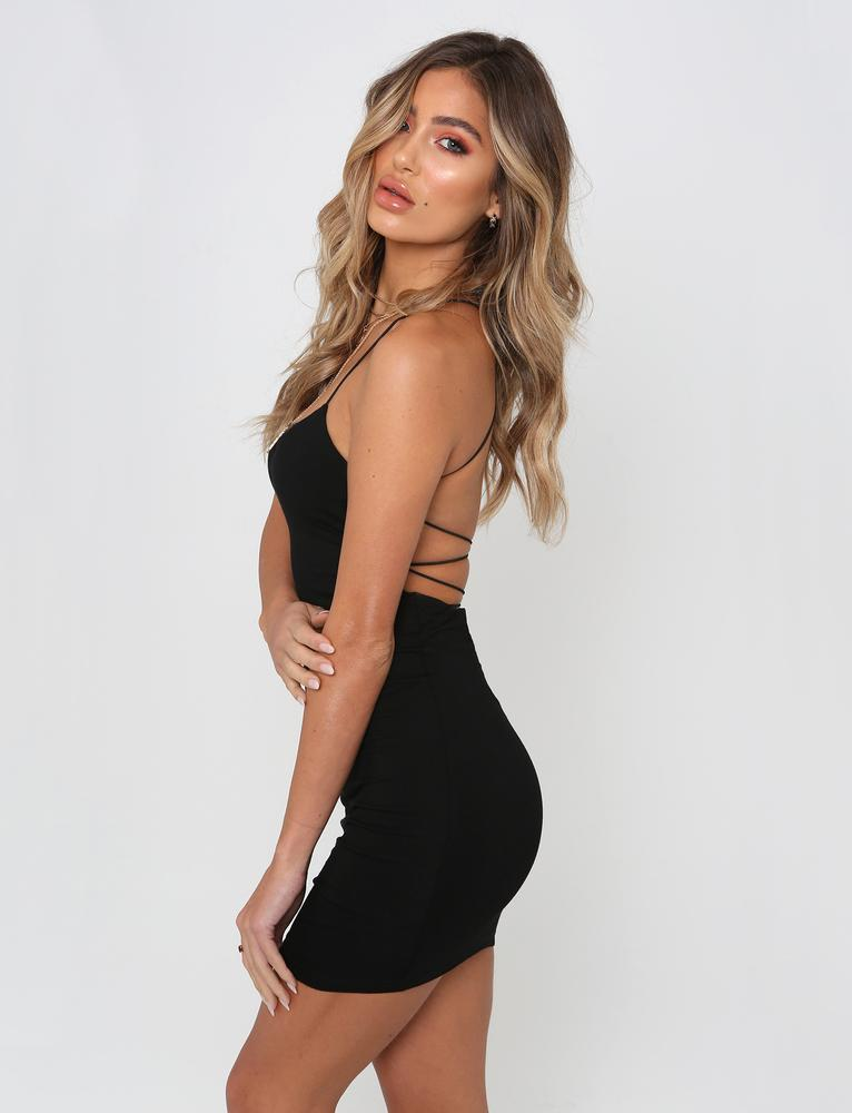 black thin spaghetti strap open back bodycon dress