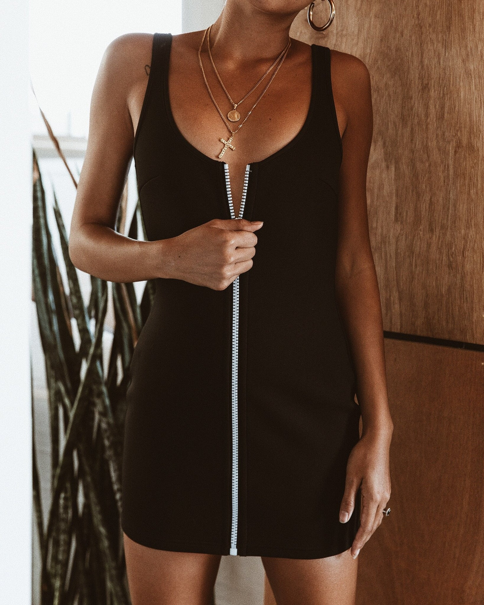 black zip front dress