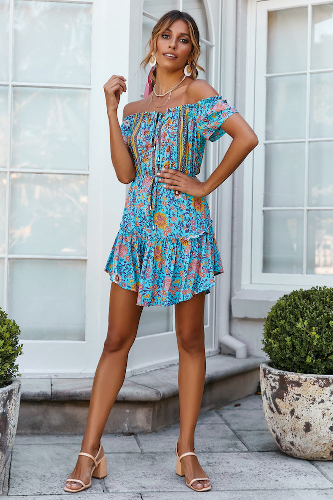 blue floral print mini dress