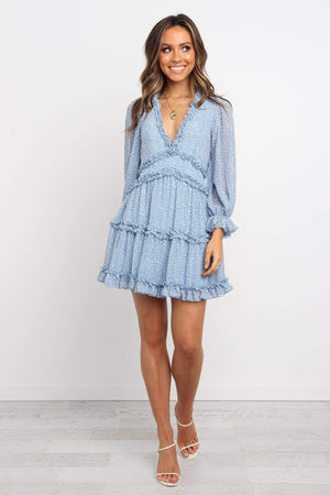 blue long sleeve ruffle dress