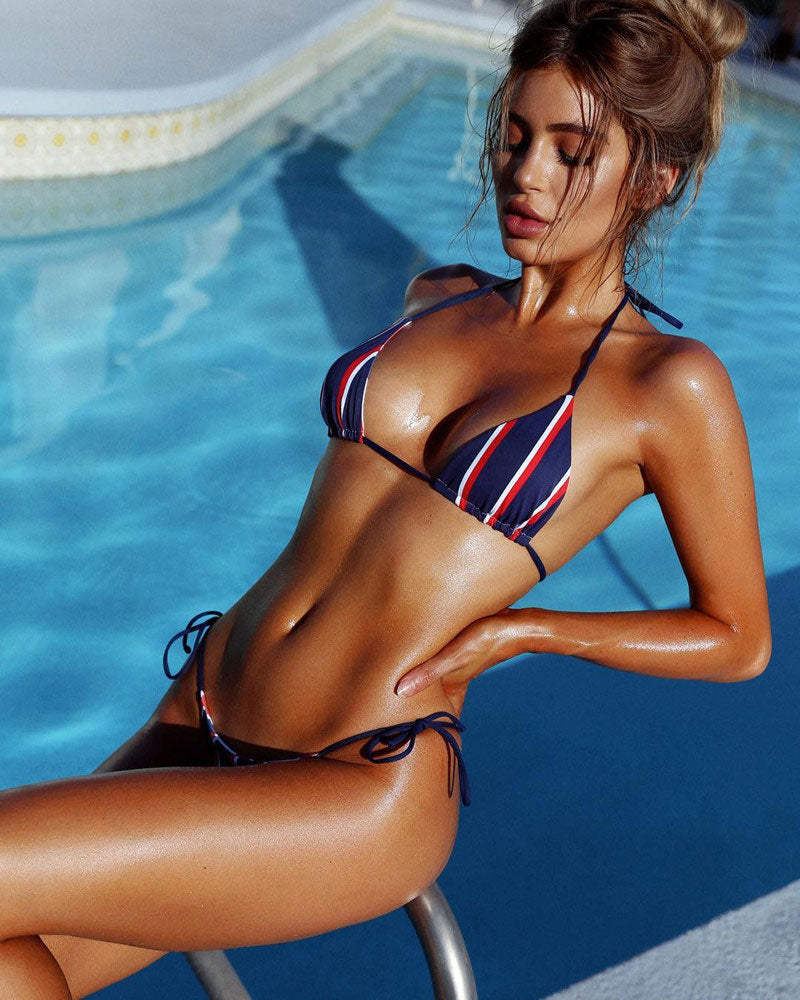 blue, red and white striped bikini