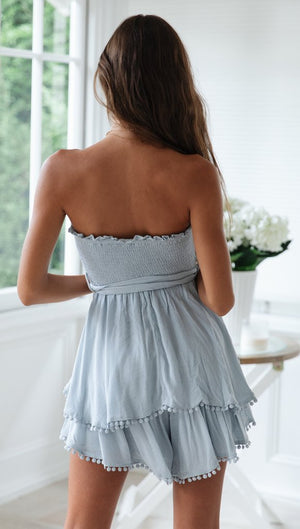 blue strapless mini dress