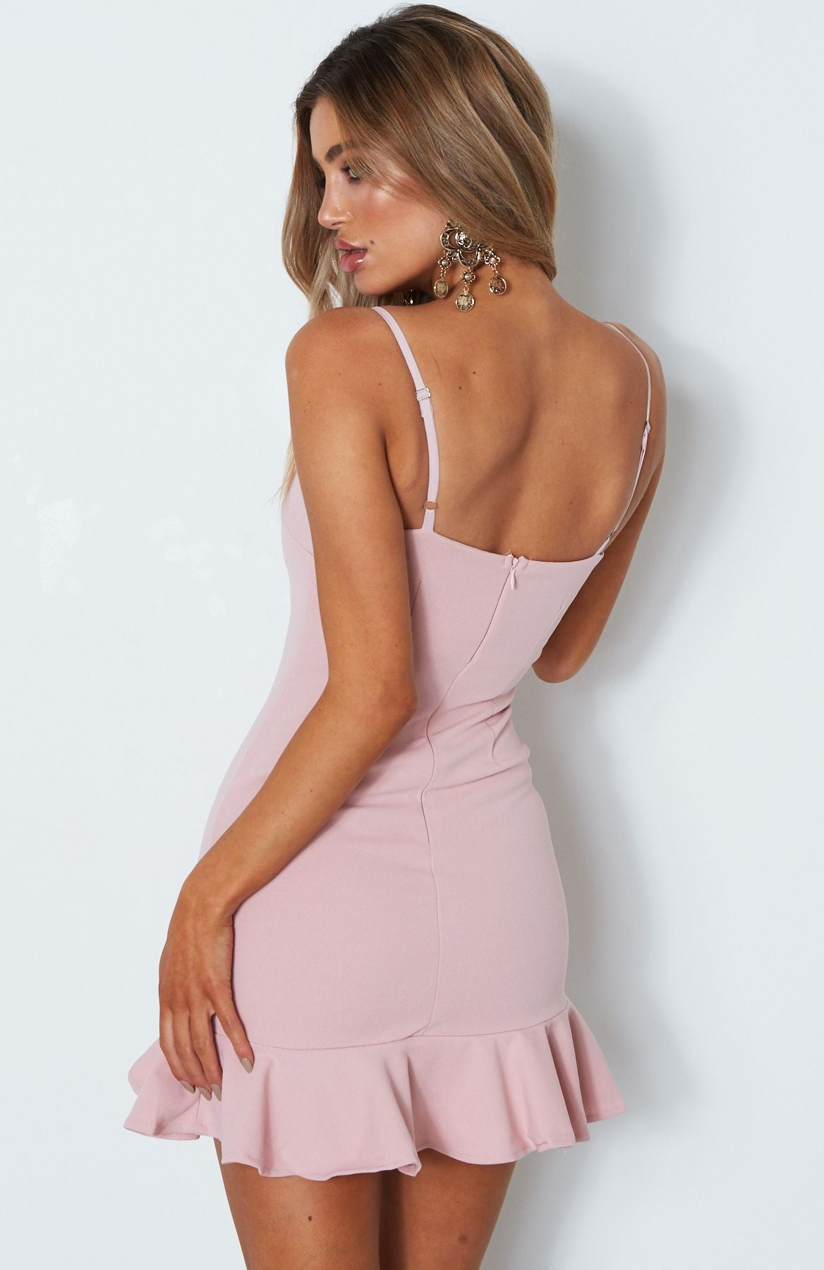 blush bodycon ruffle dress