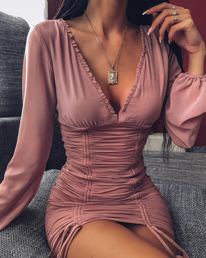 blush long sleeve bodycon dress