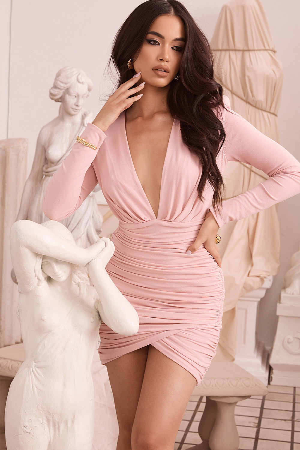 blush long sleeve dress