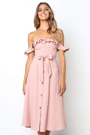 blush off shoulder casual midi dress