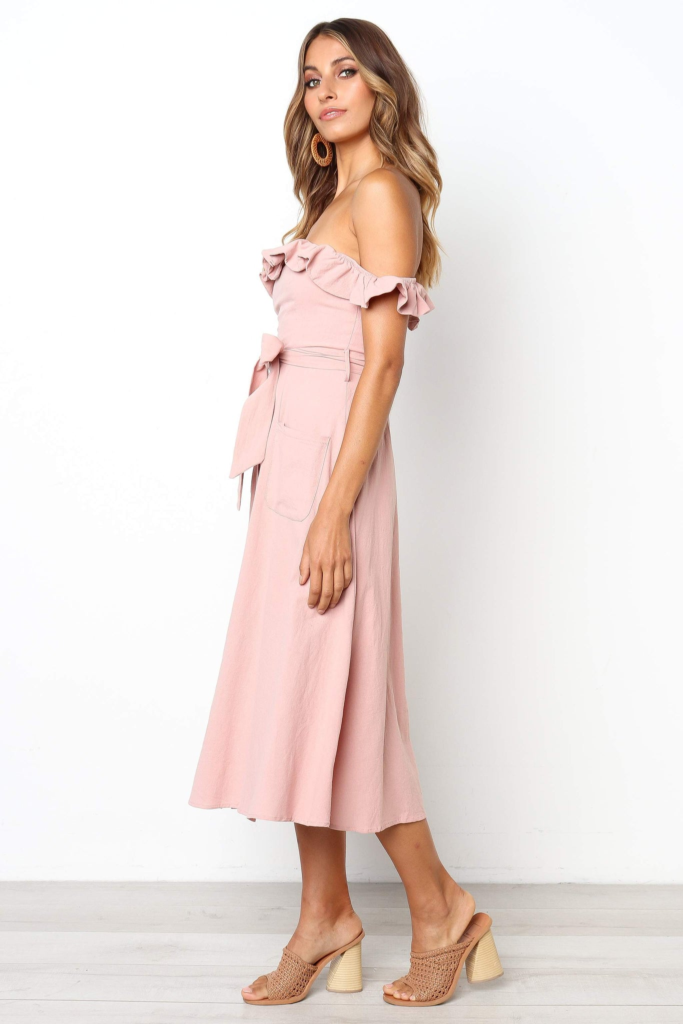 blush off the shoulder midi dress