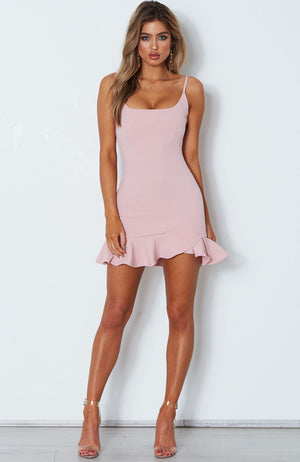 blush ruffle mini dress