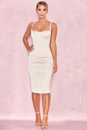 bodycon satin midi dress