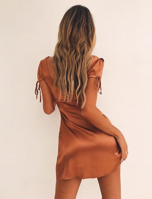 bronze faux satin mini dress