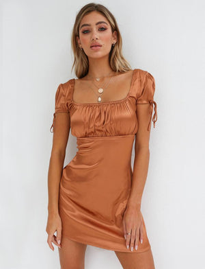 bronze faux satin party dress