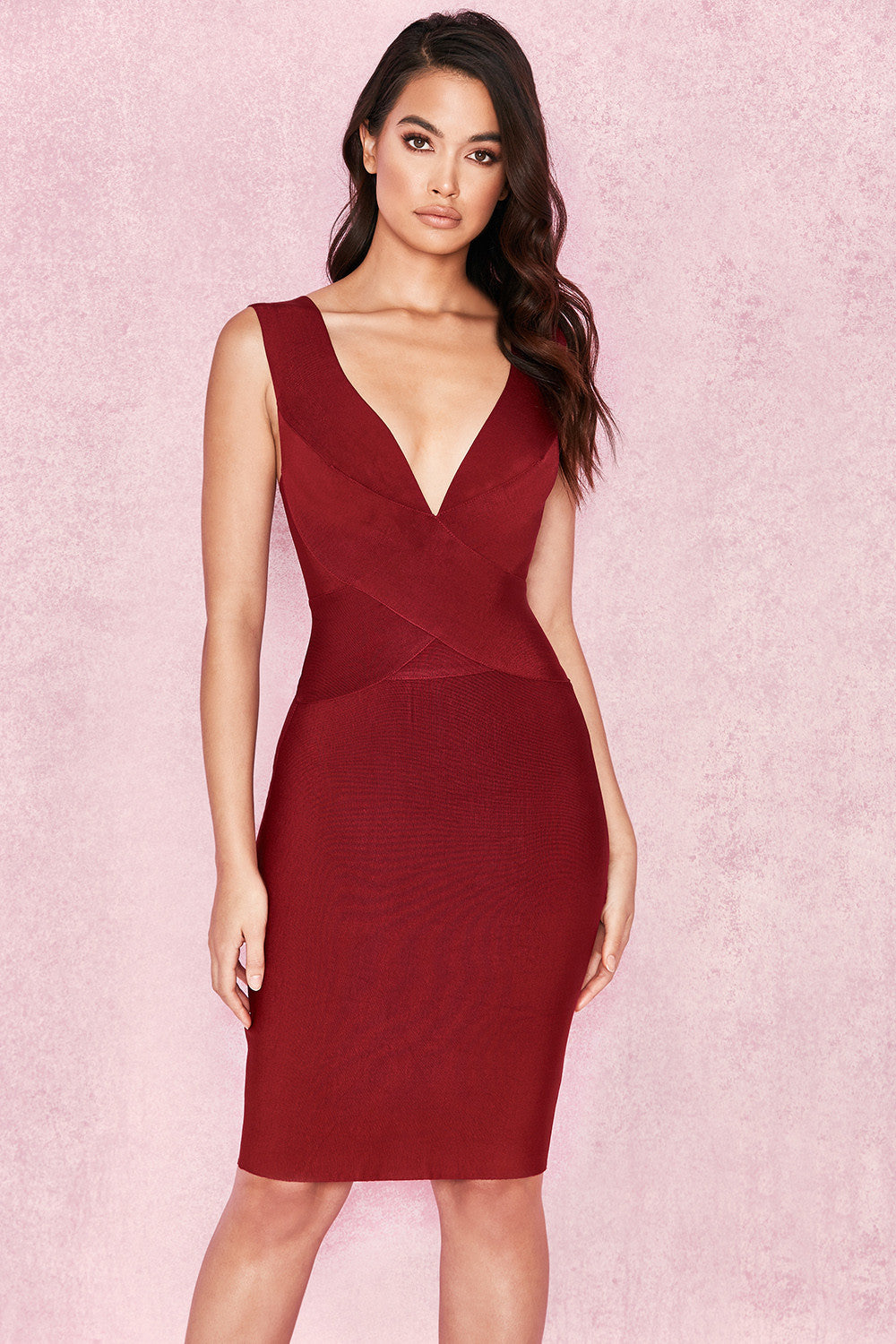 burgundy deep plunge dress