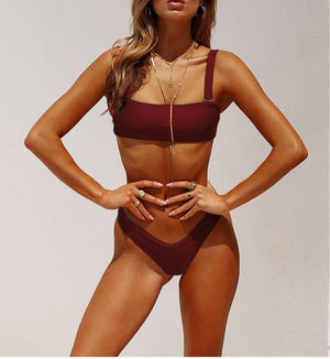 burgundy high cut bikini