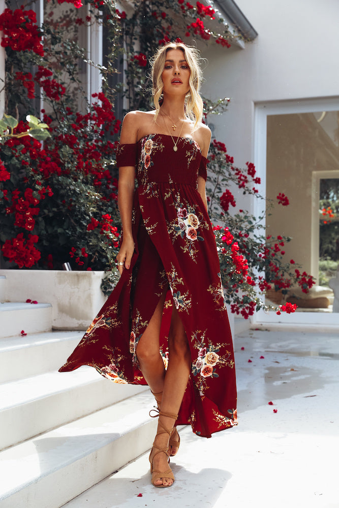 burgundy off the shoulder floral dress