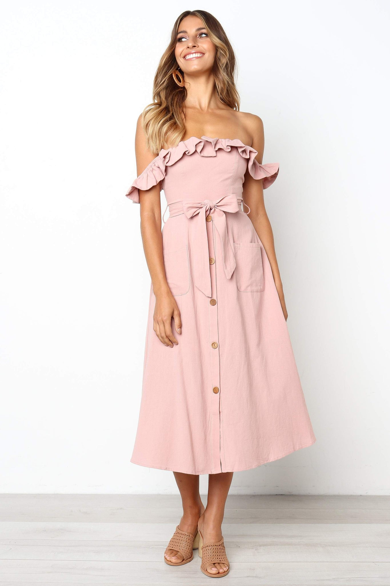 button down off the shoulder midi dress