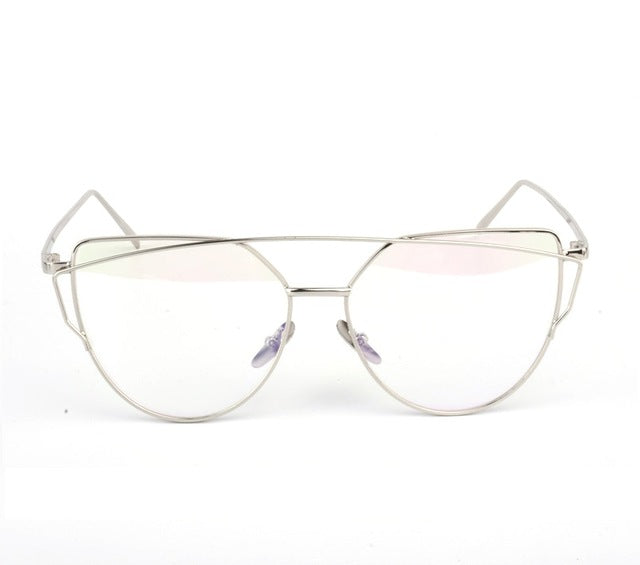 Celeste Cat Eye Mirrored Sunglasses-Clear Lens / Silver Frame