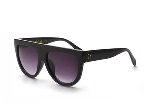 Amaro Flat Top Gradient Sunglasses-Grey Lens / Black Frame