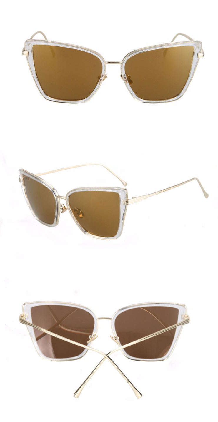 Black Cat Retro Sunglasses-Brown Lens / Clear Frame