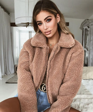 camel cropped fleece jacket