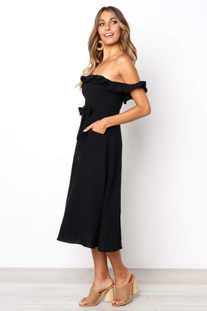 casual black midi dress