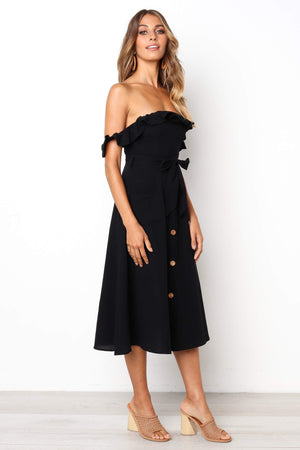casual black off the shoulder midi dress