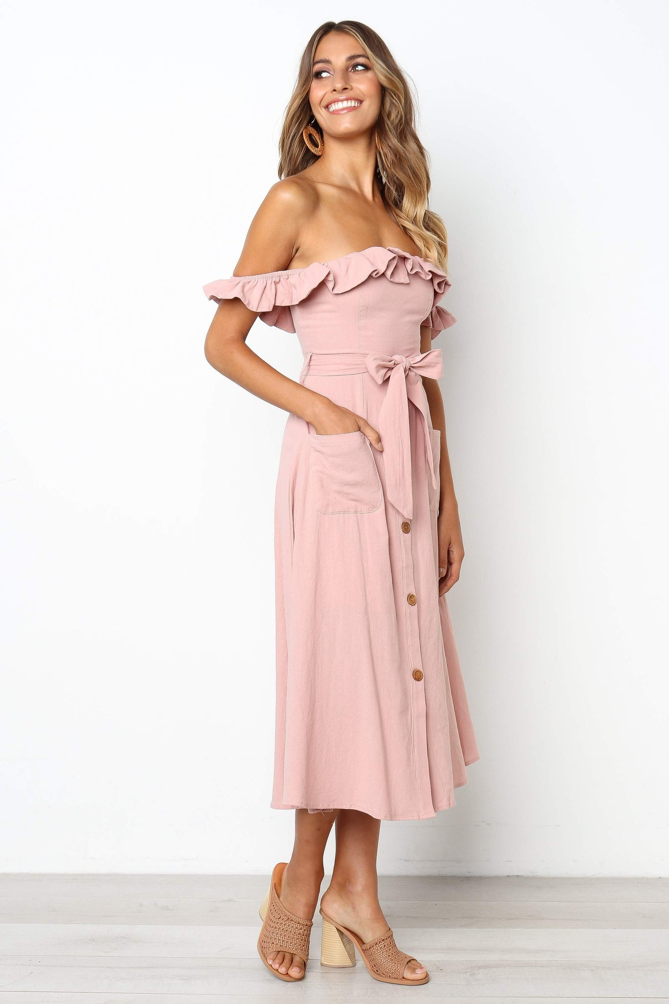 casual off the shoulder midi dress