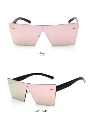 Lilya Rectangular Sunglasses-Pink Lens / Black Frame