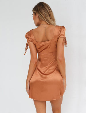 copper faux satin dress
