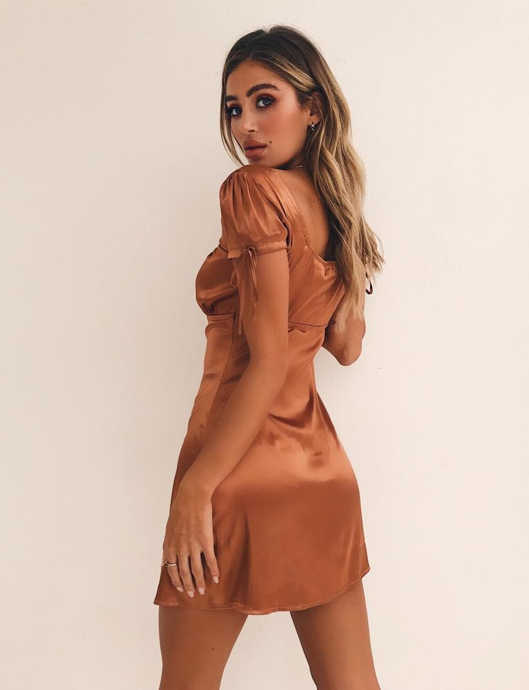 copper faux satin mini dress