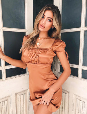 copper faux satin party dress