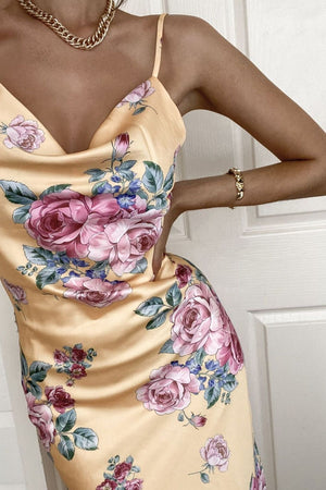 cowl neck yellow floral dress