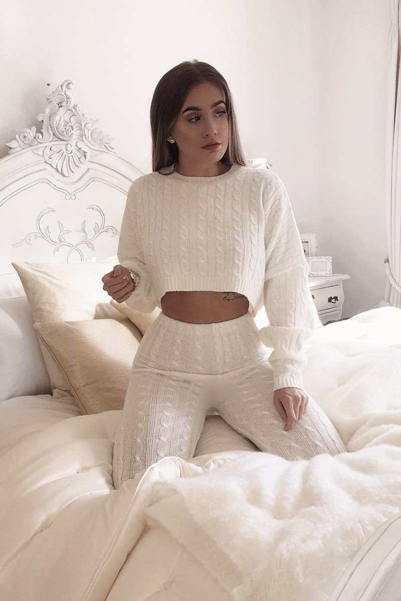 cozy sweater and knit leggings set