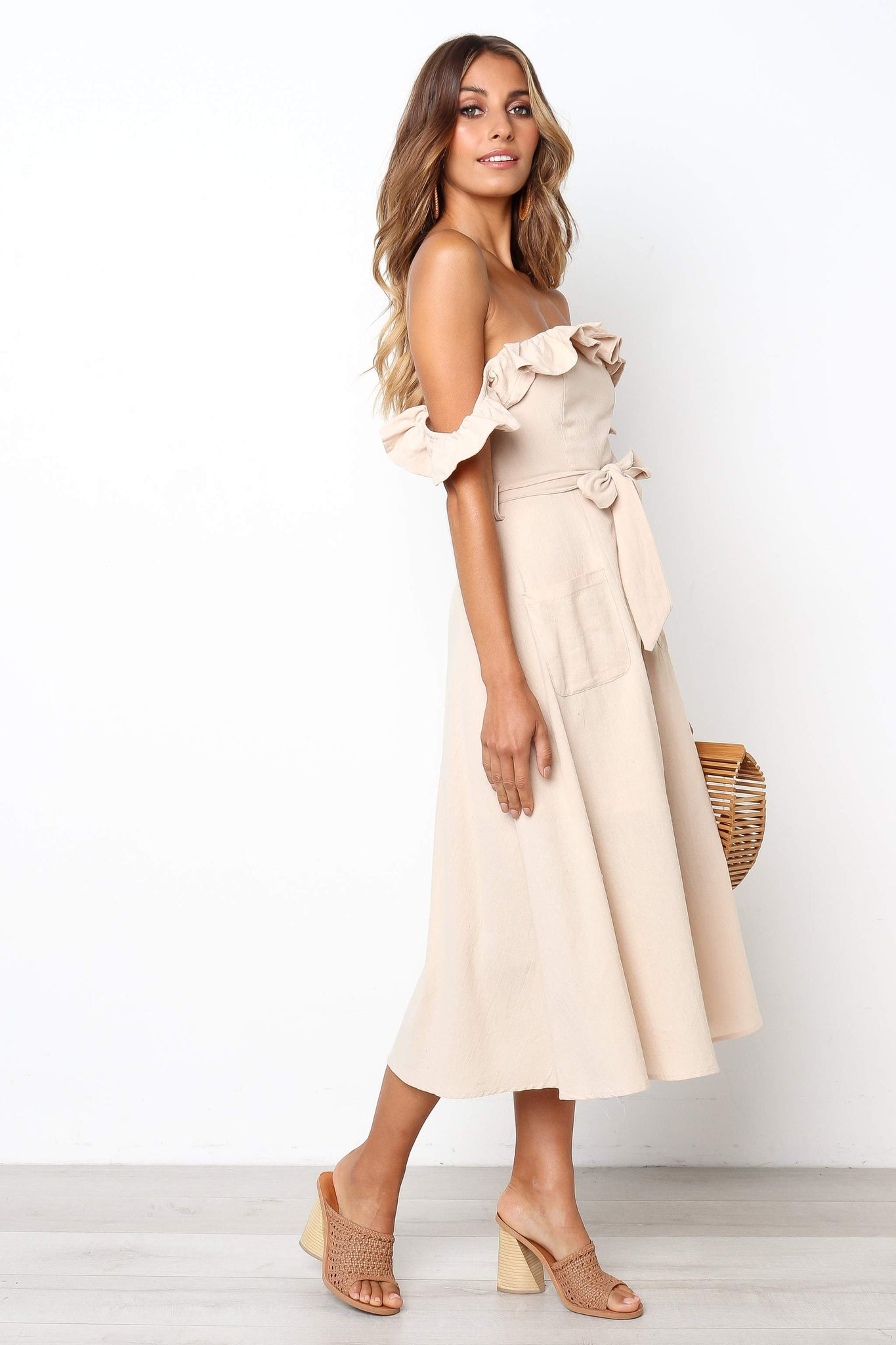 cream off the shoulder midi dress