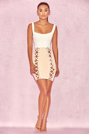 creme corset dress