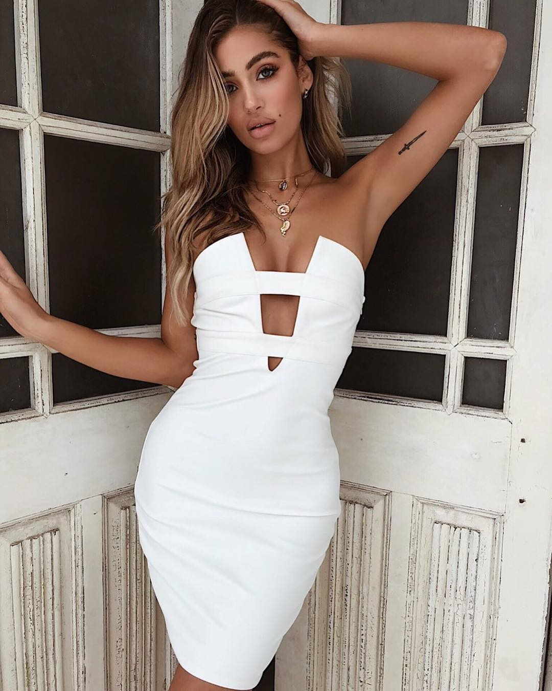 cut out strapless dress