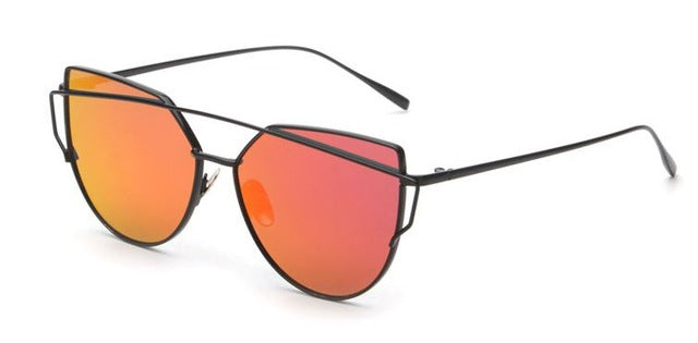 Celeste Cat Eye Mirrored Sunglasses-Tomato Lens / Black Frame