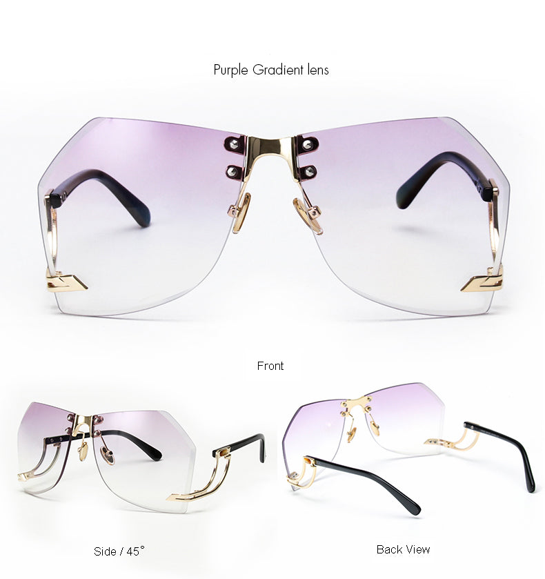Tye Oversized Rimless Sunglasses-Purple Lens / Gold Frame