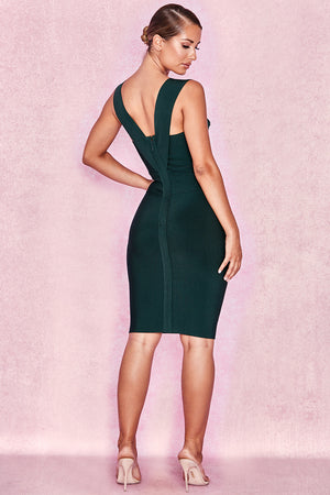 dark green bandage dress