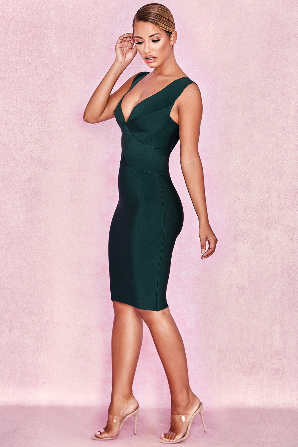 dark green deep v midi dress
