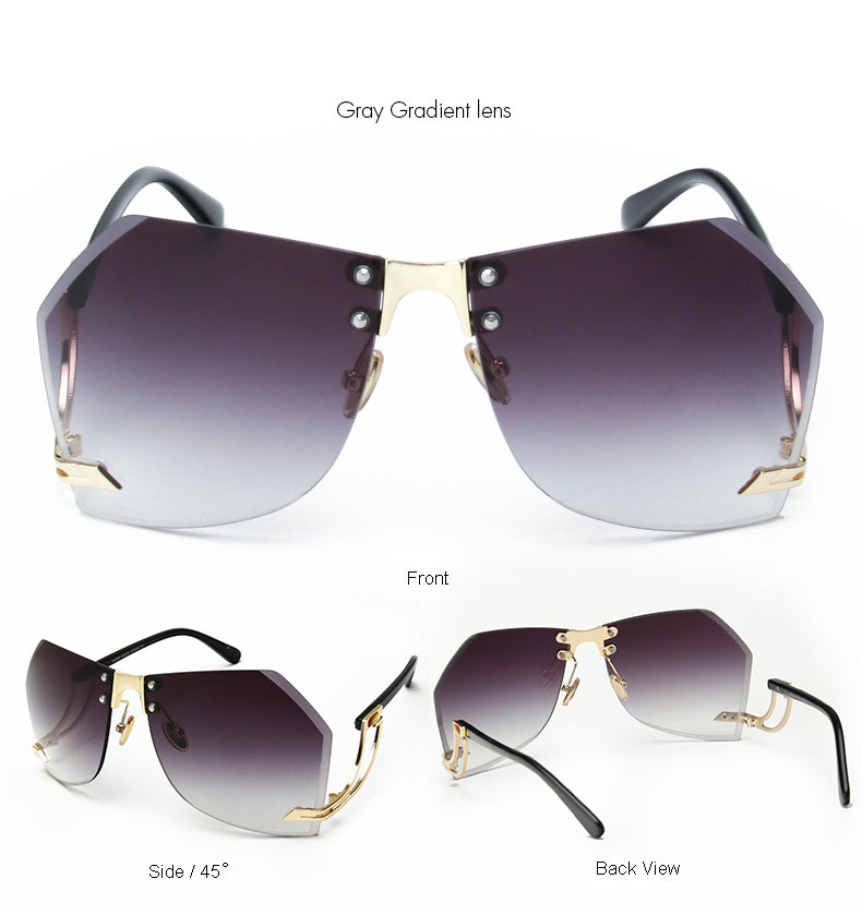Tye Oversized Rimless Sunglasses-Grey Lens / Gold Frame