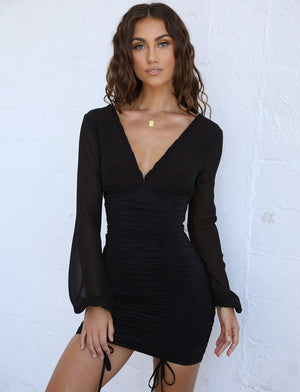 deep v long sleeve dress