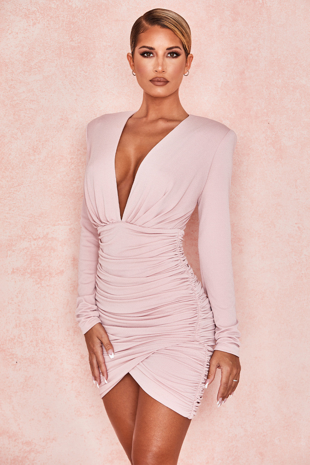 deep v long sleeve party dress