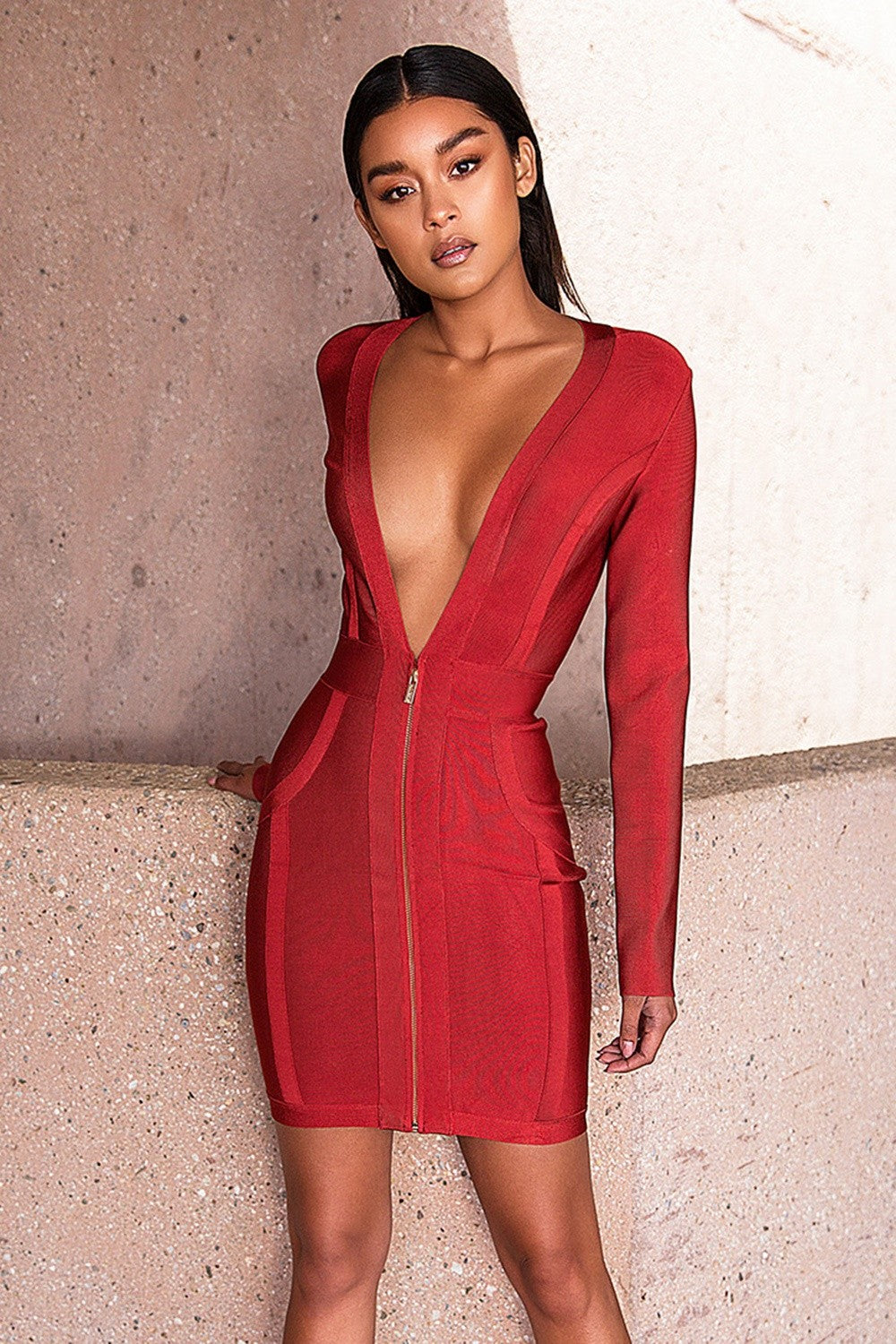 deep v neck dress - maeve