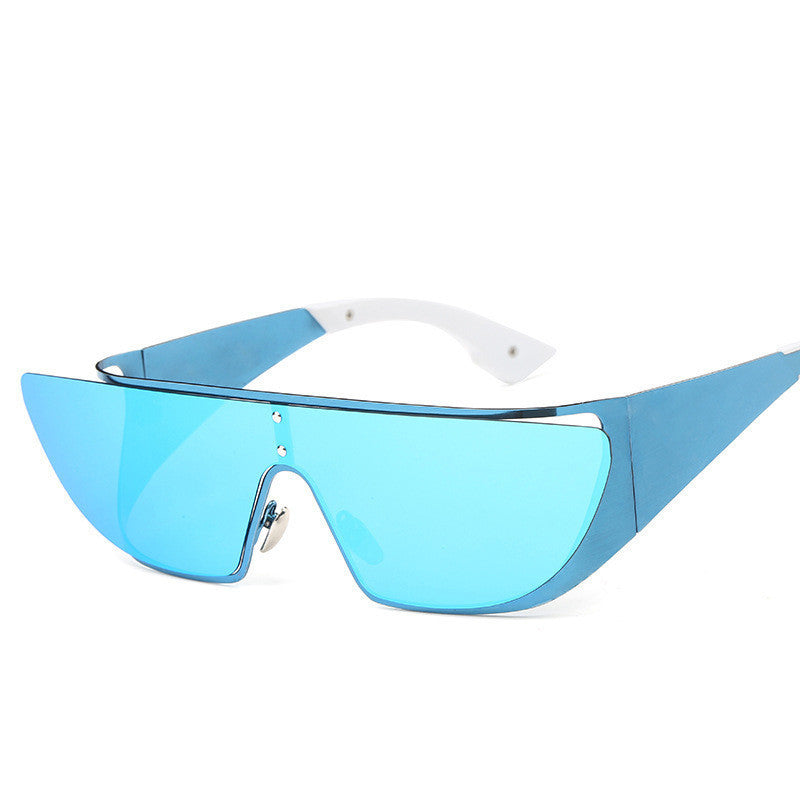 Fashionista Wrap Around Sunglasses-Blue Lens / Blue Frame