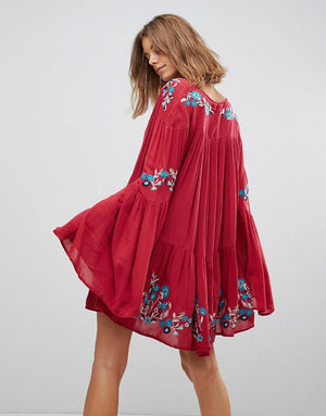embroidered boho mini dress