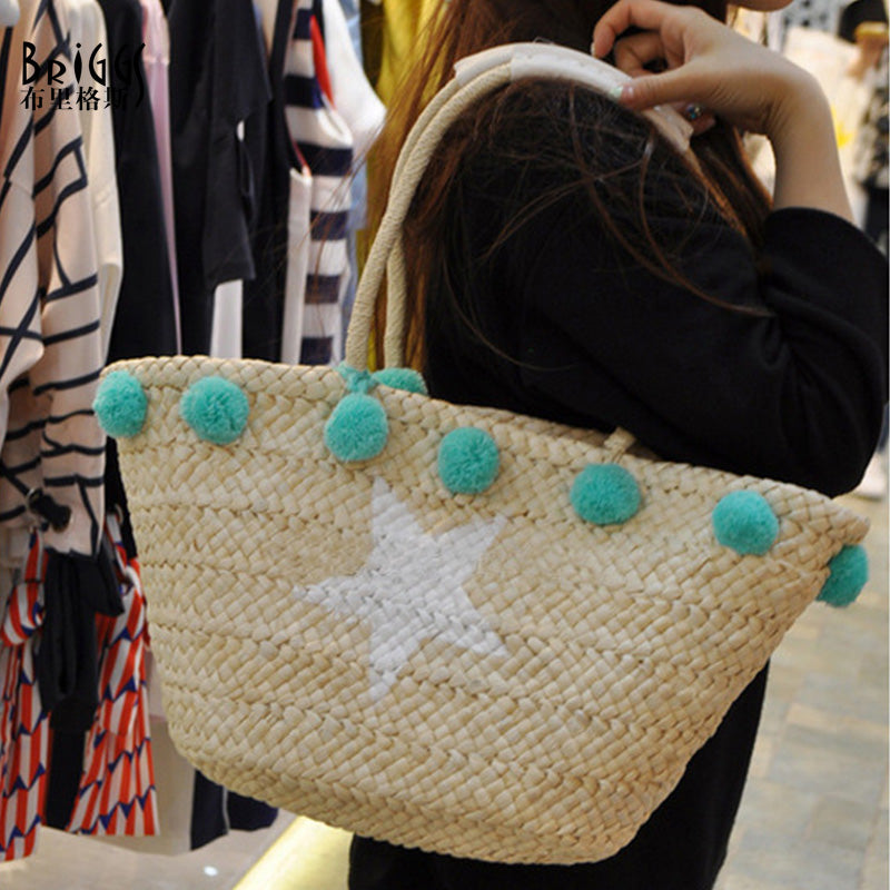 pom pom tassel beach bag
