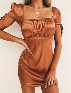 faux satin mini dress
