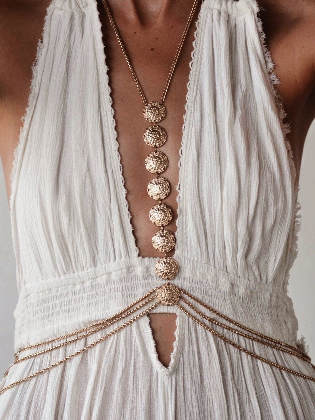 beach glam gold body chain